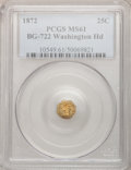 California Fractional Gold: , 1872 25C Washington Octagonal 25 Cents, BG-722, Low R.4, MS61 PCGS.PCGS Population (2/127). NGC Census: (1/10). (#10549)...