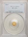 California Fractional Gold: , 1869 25C Liberty Round 25 Cents, BG-826, R.4, MS63 PCGS. PCGSPopulation (11/3). (#10687)...