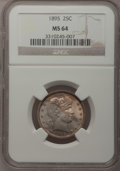 Barber Quarters: , 1895 25C MS64 NGC. NGC Census: (39/31). PCGS Population (47/28).Mintage: 4,440,880. Numismedia Wsl. Price for problem free...