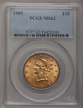 Liberty Eagles: , 1905 $10 MS62 PCGS. PCGS Population (477/304). NGC Census:(667/399). Mintage: 200,900. Numismedia Wsl. Price for problem f...