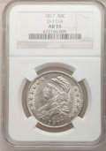 Bust Half Dollars: , 1817 50C AU55 NGC. O-111a. NGC Census: (35/146). PCGS Population(52/104). Mintage: 1,215,567. Numismedia Wsl. Price for p...