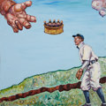 Baseball Collectibles:Others, Shoeless Joe Jackson Original Oil Painting....