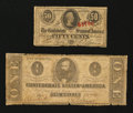 Confederate Notes:Group Lots, T55 $1 1862. T63 50¢ 1863.. ...