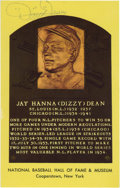 Autographs:Post Cards, Dizzy Dean Signed Gold Hall of Fame Plaque. When he entered theleague in 1932 at the age of 21, Dizzy Dean became a part o...