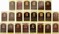 Autographs:Index Cards, Signed Gold Hall of Fame Plaques Lot of 42. Popular in the hobbyfor their simple elegance, the gold plaque postcards issue...