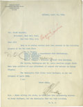Autographs:Letters, 1923 Ban Johnson Signed Typed Letter. Amazing historical content isseen with the exceptional typed letter that we offer he...