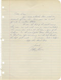Autographs:Letters, 1960's Bobby Thomson Handwritten Letter. Though responsible forwhat many consider the most thrilling moment in the long hi...