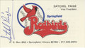 Autographs:Others, Satchel Paige Signed Business Card. When the New Orleans Pelicans minor league team moved to Springfield, IL in 1978, they ...