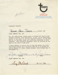 Autographs:Others, 1972 Joe Torre Signed Topps Contract. While he was with the St.Louis Cardinals, Joe Torre had to renew his agreement with ...