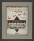 "Baseball Collectibles:Others, 1926 ""Cardinals and Mister Hornsby"" Song Sheet. The '26 WorldSeries winners, on the back of star player and manager Rogers..."