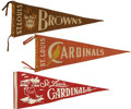 "Baseball Collectibles:Others, 1939-1950s St. Louis Baseball Pennants Lot of 3. Fabulous trio ofvintage full-sized (29"") felt pennants that we make avail..."