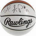 Basketball Collectibles:Balls, Shawn Kemp Single Signed Basketball. The white Rawlings souvenirbasketball we see here sports a perfect 10/10 signature co...