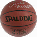 Basketball Collectibles:Balls, Andre Miller Single Signed Basketball. Here we offer a new Spaldingbasketball adorned with a 10/10 silver sharpie example ...