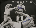 Boxing Collectibles:Autographs, Floyd Patterson and Ingemar Johansson Dual-Signed Oversized Photograph with Other Boxing Ephemera, Lot of 3. Fantastic over...