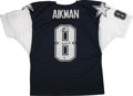 Autographs:Jerseys, Troy Aikman Signed Jersey. The recent Hall of Fame inductee and thehero of Dallas Troy Aikman has signed the offered Cowbo...