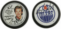 """Hockey Collectibles:Others, Wayne Gretzky Signed Hockey Pucks Lot of 2. The man known in many circles only as """"The Great One"""" has provided his desirabl..."""