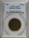 1787 COPPER New Jersey Copper, Outlined Shield AU55 PCGS. PCGS Population (3/12). NGC Census: (0/0). (#503)...(PCGS# 503...