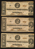 Confederate Notes:1862 Issues, T54 $2 1862 Three Examples.. ... (Total: 3 notes)