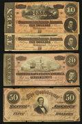 Confederate Notes:1864 Issues, $50; $20; and $10 1864 Notes.. ... (Total: 4 notes)