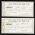 Obsoletes By State:Nevada, Virginia City, Nevada Territory- Assay Office of Van Wyck & Co. Bullion Receipts 1864 Two Examples. ... (Total: 2 items)