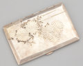 Silver Smalls:Cigarette Cases, A JAPANESE SILVER CIGARETTE CASE . Maker unknown, Japan, circa1955. Marks: STERLING 950. 0-3/8 x 5 x 3-1/4 inches (1.0 ...