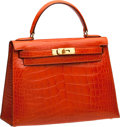 Luxury Accessories:Bags, Hermes 28cm Shiny Orange H Alligator Kelly with Gold Hardware. ...
