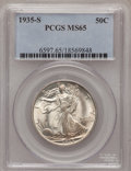 Walking Liberty Half Dollars: , 1935-S 50C MS65 PCGS. PCGS Population (299/96). NGC Census:(168/55). Mintage: 3,854,000. Numismedia Wsl. Price for problem...