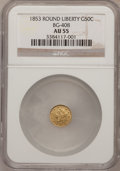California Fractional Gold: , 1853 50C Liberty Round 50 Cents, BG-408, R.6, AU55 NGC. NGC Census:(1/1). PCGS Population (5/14). (#10444)...