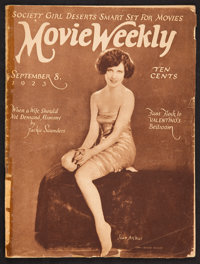 """Movie Weekly Magazines (Movie Weekly Publishing, 8 Sep and 15 Sep, 1923). Film Magazines (2) (Multiple Pages, 9.25""""..."""