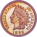 Proof Indian Cents, 1892 1C PR66 Red Cameo NGC....