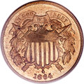 Two Cent Pieces, 1864 2C Large Motto MS66 Red PCGS....