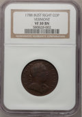 Colonials, 1788 COPPER Vermont Copper, Bust Right VF30 NGC. NGC Census: (5/5).PCGS Population (16/37). (#563)...
