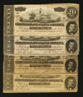 Confederate Notes:1864 Issues, T67 $20 1864. Four Examples.. ...