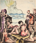 Pin-up and Glamour Art, PETER DRIBEN (American, 1902-1968). Neptune Overlooking a Bevyof Beauties. Mixed media on board. 19.25 x 16.5 in.. Sign...