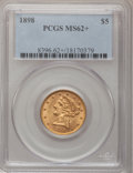 Liberty Half Eagles, 1898 $5 MS62+ PCGS. PCGS Population (266/155). NGC Census:(777/442). Mintage: 633,495. Numismedia Wsl. Price for problem f...
