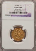 Liberty Half Eagles: , 1854-C $5 --Damaged--NGC Details. VF. NGC Census: (1/109). PCGSPopulation (1/72). Mintage: 39,200. Numismedia Wsl. Price fo...