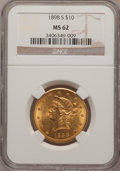 Liberty Eagles: , 1898-S $10 MS62 NGC. NGC Census: (122/21). PCGS Population(135/41). Mintage: 473,600. Numismedia Wsl. Price for problem fr...