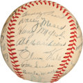 Baseball Collectibles:Balls, 1949 Philadelphia Athletics Team Signed Baseball (29Signatures)....