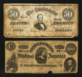 Confederate Notes:Group Lots, T65 $100 1864 & T66 $50 1864. ... (Total: 2 notes)