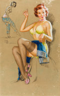 Pin-up and Glamour Art, KNUTE O. MUNSON (American, 20th Century). Mending the Jeans.Charcoal, pastel, and pencil on board. 32.25 x 20.5 in.. Si...