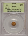 California Fractional Gold: , 1866 25C Liberty Round 25 Cents, BG-804, R.4, MS62 PCGS. PCGSPopulation (14/69). NGC Census: (2/11). (#10665)...