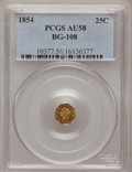 California Fractional Gold: , 1854 25C Liberty Octagonal 25 Cents, BG-108, Low R.4, AU58 PCGS.PCGS Population (8/111). NGC Census: (1/16). (#10377)...