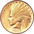 Indian Eagles, 1907 $10 Wire Rim MS62 PCGS....