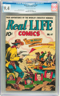 Golden Age (1938-1955):Non-Fiction, Real Life Comics #47 (Nedor Publications, 1949) CGC NM 9.4Off-white to white pages....