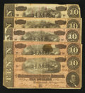 Confederate Notes:1864 Issues, T68 $10 1864 Five Examples.. ... (Total: 5 notes)