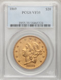 Liberty Double Eagles: , 1869 $20 VF35 PCGS. PCGS Population (5/202). NGC Census: (2/291).Mintage: 175,155. Numismedia Wsl. Price for problem free ...