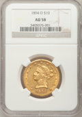 Liberty Eagles: , 1894-O $10 AU58 NGC. NGC Census: (260/258). PCGS Population(68/163). Mintage: 107,500. Numismedia Wsl. Price for problem f...