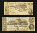 Confederate Notes:1862 Issues, T44 $1 1862. T60 $5 1863.. ... (Total: 2 notes)