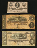 Confederate Notes:1863 Issues, T63 50¢ 1863. T68 $10 1864. T69 $5 1864.. ... (Total: 3 notes)