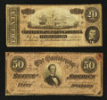 Confederate Notes:1864 Issues, T66 $50 1864. T67 $20 1864.. ... (Total: 2 notes)